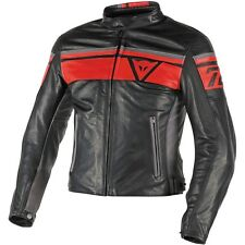 NEW MODEL DAINESE  BLACKJACK BLACK & RED PELLE SOFT LEATHER JACKET IN STOCK NOW