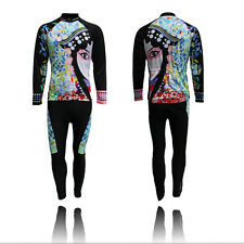 Facial Masks Women Cycling Kit Long Sleeve Cycling Bike Jersey & Padded Pant Set