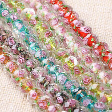 Lampwork Glass Rose Flower Interior Faceted Rondelle Spacer Loose Beads Charm A+