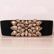 Elegant Glass Stone Buckle Elastic Waist Belt Women's Wide Waistband Strap Cinch