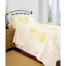 Twin Full Queen King Bed White Yellow Patchwork 3 pc Quilt Set Coverlet Bedding