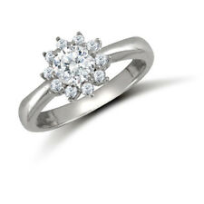 Jewelco London 9ct White Gold CZ Round Cluster Engagement Ring