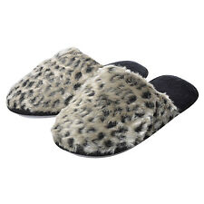 Ladies Faux Fur Grey Leopard Print Mule Slippers With Hard Non-Slip Sole
