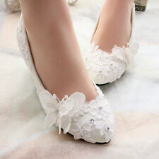 New Lace White Crystal Wedding Shoes Bridal Flats Low High Heel Pump Size