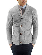 Men Long Sleeves Single Breasted Front Knit Cardigan