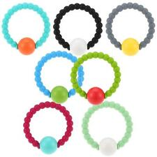 Baby Silicone Bracelet Teether Teething Bangle with Bell Beads BPA Free J8K0