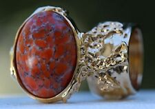 CORAL GLASS KNUCKLE ART RING GOLD WOMEN ARTY VINTAGE ARMOR CHUNKY STATEMENT