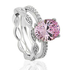10mm Platinum Plated Silver 2.5ct Pink Oval CZ Wedding Engagement Ring set