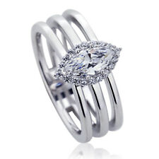 11mm Platinum Plated Silver 0.5ct Marquise CZ Halo Wedding Engagement Ring set