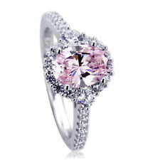 10mm Platinum Plated Silver 1.2ct Oval Pink CZ Halo Wedding Engagement Ring set
