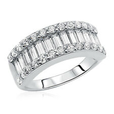 8.5mm Rhodium Plated Silver Wedding Ring Baguette CZ Anniversary Engagement Band