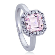 10mm Platinum Plated Sterling Silver 2ct Square Pink CZ Wedding Engagement Ring
