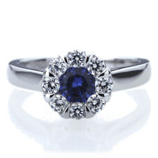 7.5mm Platinum Plated Silver 1ct Sapphire CZ Wedding Engagement Ring set