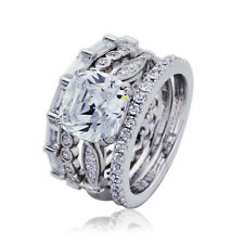9mm Platinum Plated Silver 2.7ct CZ Eternity Wedding Engagement Bridal Ring Set