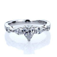 7mm Platinum Plated Silver 1.5ct Pear CZ Three Stone Wedding Engagement Ring set