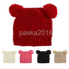 Soft Baby Winter Warm Crochet Knit Hats Beanie Toddlers Double Ball Cute Cap