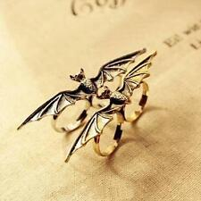 Fashion Punk Vintage Adjustable Vampire Animal Bat Wing double Fingers Ring Gift