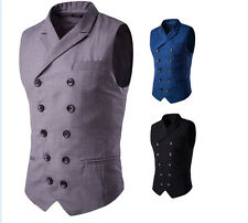 Mens Double-Breasted Formal Business Slim Fit Chain Dress Vest Suit Waistcoat