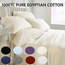100% PURE EGYPTIAN COTTON 1000TC Fitted Sheet + Pillowcase Set - 9 Colors