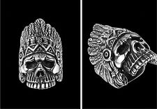 Size 8-12 Men's Fashion Cool Stainless Steel Gothic Punk Silver Skull Ring