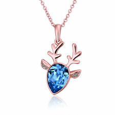 Womens Fashion 18K Gold Plated Chain Deer Crystal Teardrop Necklace Pendant Gift