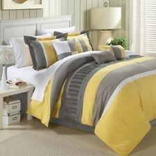 NEW Queen King Bed White Yellow Gray Grey Stripe 8 pc Comforter Pillows Set NWT