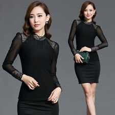 Fashion Women's Casual Autumn Slim Long Sleeve Lace Stylish Blouses Tops New HOT