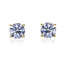14K Yellow Gold Cubic Zirconia Basket Setting Solitaire Safetyback Stud Earrings