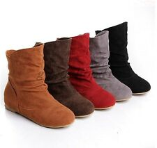 Hot Sale Womens Faux Suede Round Toe Slouch Flats Bootie Pull On Mid-Calf Boots