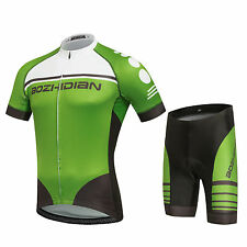 Green Cycling Jersey & Bike Shorts Set Cycling Team Short Sleeve Bicycle Suits