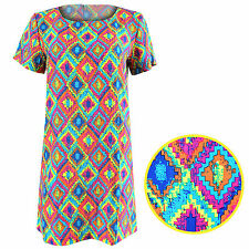 NEW LADIES DIAMOND PRINT DRESS WOMENS MINI TUNIC CELEB LOOK SHIFT DRESSES TOP