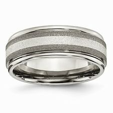Chisel Stone Finish Titanium & Sterling Silver Center Inlay Band Size 7 to 14