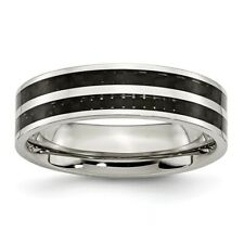 Chisel 6mm Stainless Steel Double Black Carbon Fiber Inlay Band Size 6 to 12