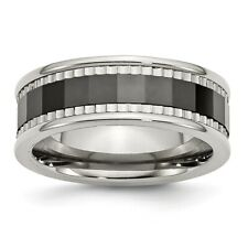 Chisel 8mm Black Ceramic Faceted Stainless Steel Ridged Edge Band Size 7 to 13