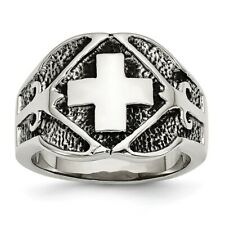 Chisel Stainless Steel Polished & Antiqued Cross Ring Size 9 to 11