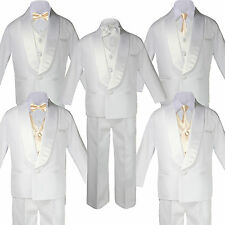 Boys White Satin Shawl Lapel Suits Tuxedo CHAMPAGNE Satin Bow Necktie Vest Set