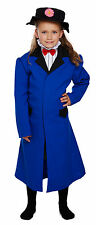 GIRLS VICTORIAN COSTUME LONG BLUE FANCY DRESS COAT & HAT NANNY OUTFIT NEW 7-9-12