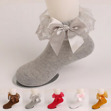Cute Children Girls Kids Bow Lace Durable Solid Soft Cotton Socks Autumn