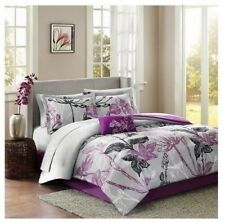 NEW Twin Full Queen Cal King Bed Gray Purple Floral 9pc Comforter Sheets Set NWT