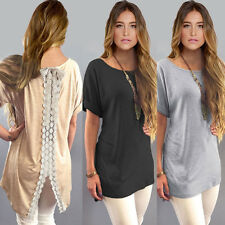 Womens Stylish Summer Casual Tops Short Sleeve T-Shirt Loose Dress Lace Blouse