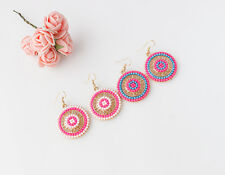 Fashion Hot 1 Pair Bohemian Pearl National wind Earrings Earring Circle Bead