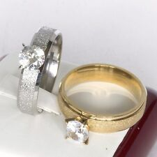 Cubic Zirconia CZ Gold or Silver Plated Sparkle Womens Engagement Ring (N to W)