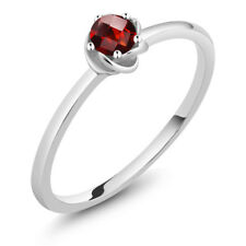 0.25 Ct Round Checkerboard Red Garnet 10K White Gold Solitaire Engagement Ring