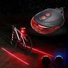 5 LED 2 Laser Beam Road MTB Cycle Bike Bicycle Rear Light Tail Back Flash Lamp