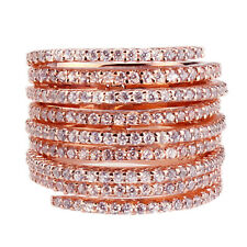 Fine 17mm 14K Rose Gold Plated Silver Stackable 3 Ring Hinges CZ Ring / Gift box