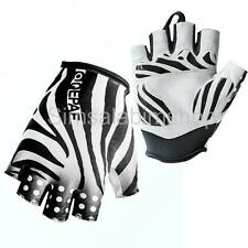 QEPAE Sports Bike Cycling Gloves Breathable Half Finger Glove Zebra - S/L/M/XL