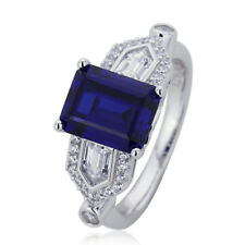 Women 9mm Platinum Plated Silver 2.5ct Sapphire CZ Engagement Ring set