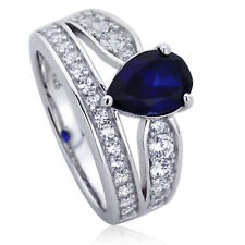 Women 11mm Platinum Plated Silver 1.75ct Sapphire Pear CZ Engagement Ring set