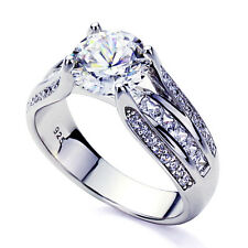 Women 7.5mm Platinum Plated Sterling Silver 2ct Round CZ Engagement Ring