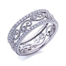 Women 7mm Platinum Plated Sterling Silver 1ct CZ Band Eternity Ring set